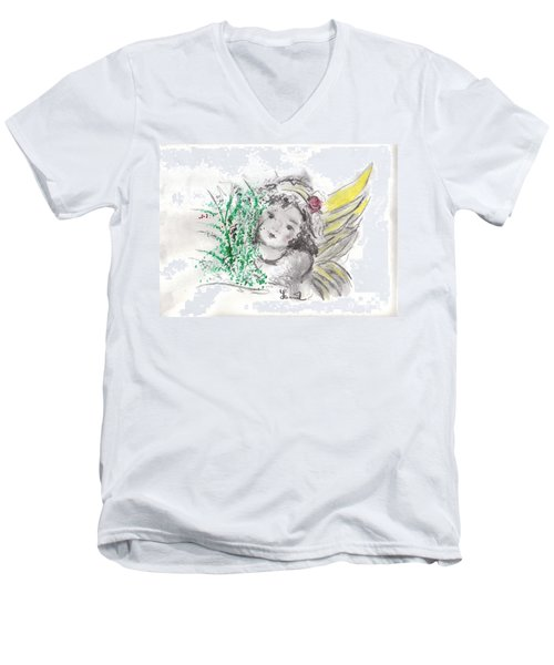 Christmas Angel Men's V-Neck T-Shirt by Laurie L