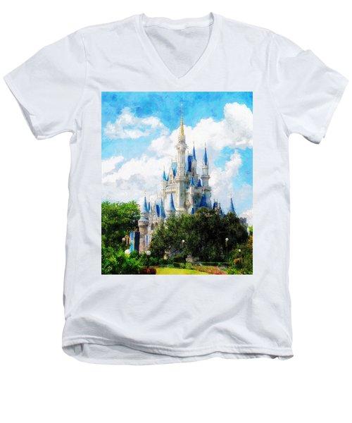 Cinderella Castle Men's V-Neck T-Shirt by Sandy MacGowan