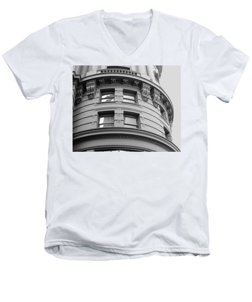 Circular Building Details San Francisco Bw Men's V-Neck T-Shirt by Connie Fox