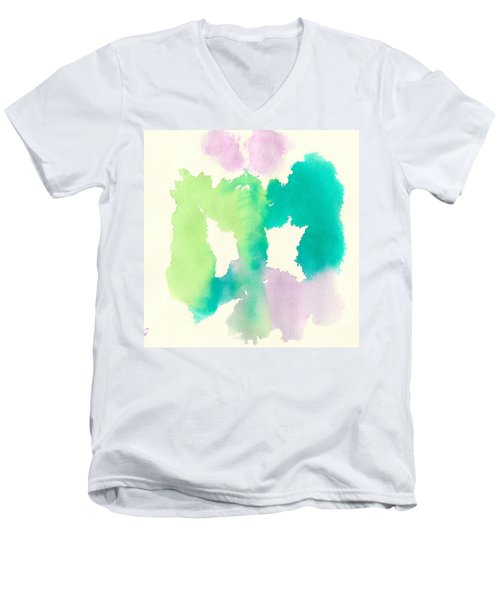 Men's V-Neck T-Shirt featuring the painting Cocoon by Frank Bright