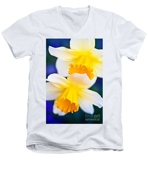 Men's V-Neck T-Shirt featuring the photograph Daffodils by Roselynne Broussard