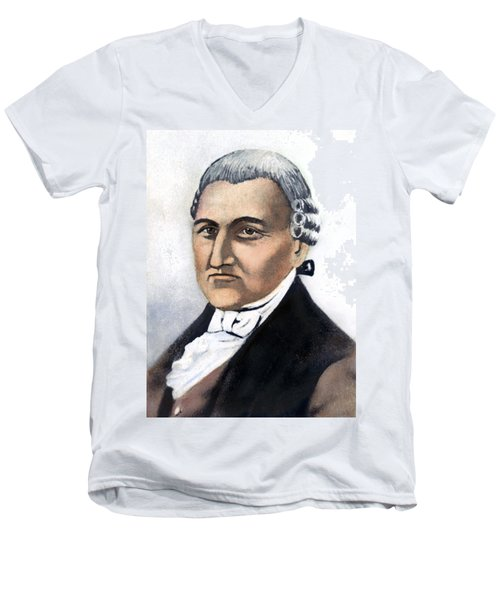 Men's V-Neck T-Shirt featuring the painting David Brearley (1745-1790) by Granger