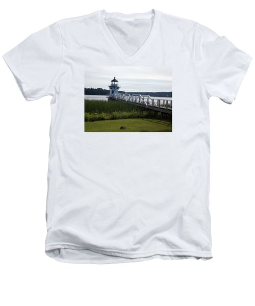 Doubling Point Lighthouse Men's V-Neck T-Shirt by Catherine Gagne