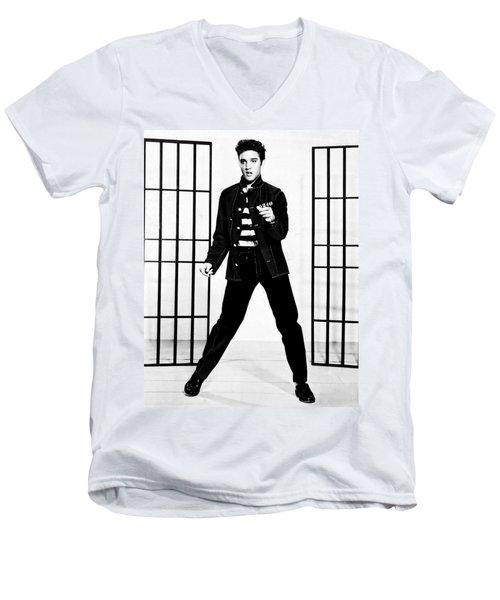 Elvis Presley Men's V-Neck T-Shirt by Doc Braham