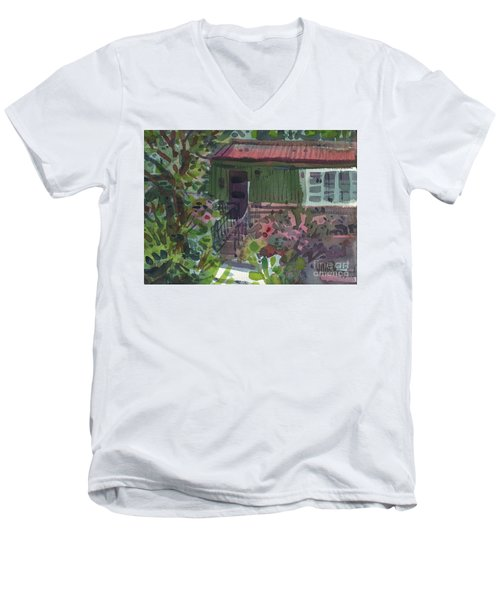 Men's V-Neck T-Shirt featuring the painting Entrance by Donald Maier