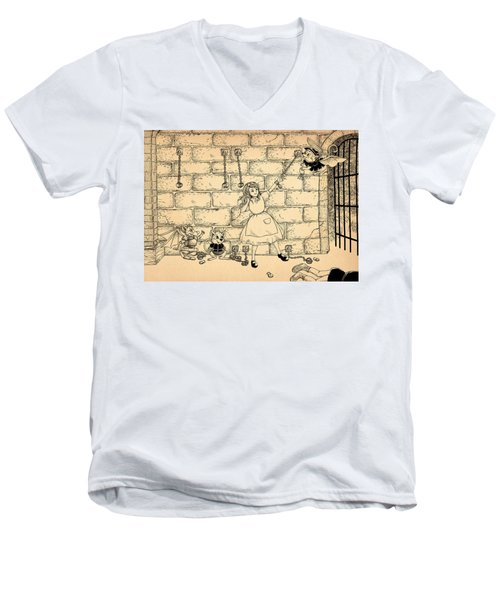Men's V-Neck T-Shirt featuring the drawing Escape by Reynold Jay