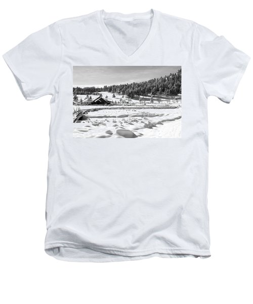 Men's V-Neck T-Shirt featuring the photograph Evergreen Lake House Winter by Ron White
