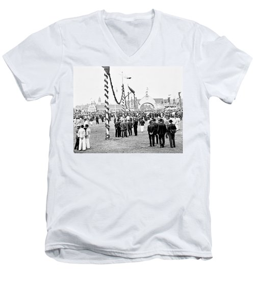 Men's V-Neck T-Shirt featuring the photograph Festival Place Millerntor Hamburg Germany 1903 by A Gurmankin