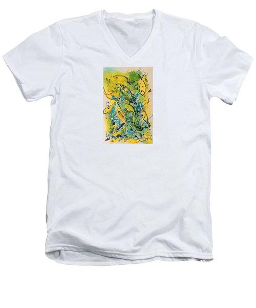 Fish Frenzy Men's V-Neck T-Shirt by Lyn Olsen