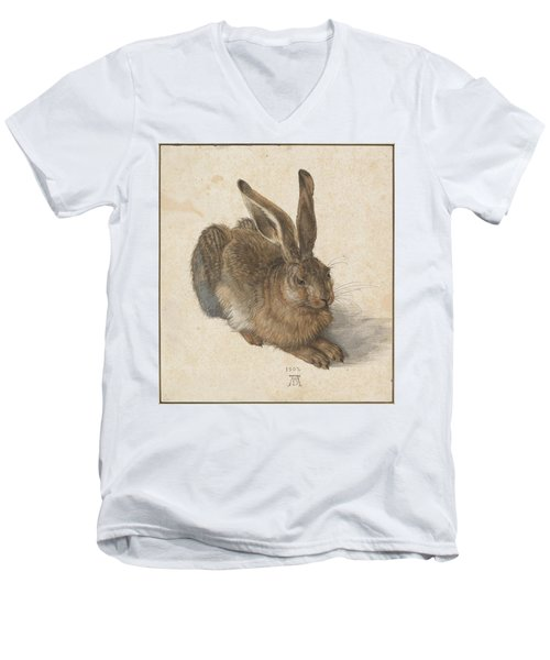 Young Hare Men's V-Neck T-Shirt by Albrecht Durer