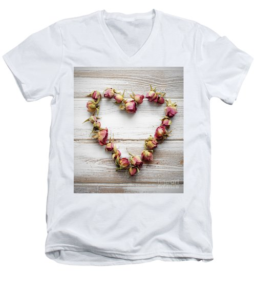 Heart From Dry Rose Buds Men's V-Neck T-Shirt