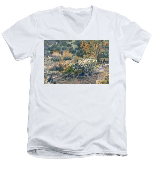 Men's V-Neck T-Shirt featuring the painting High Desert Flora by Donald Maier