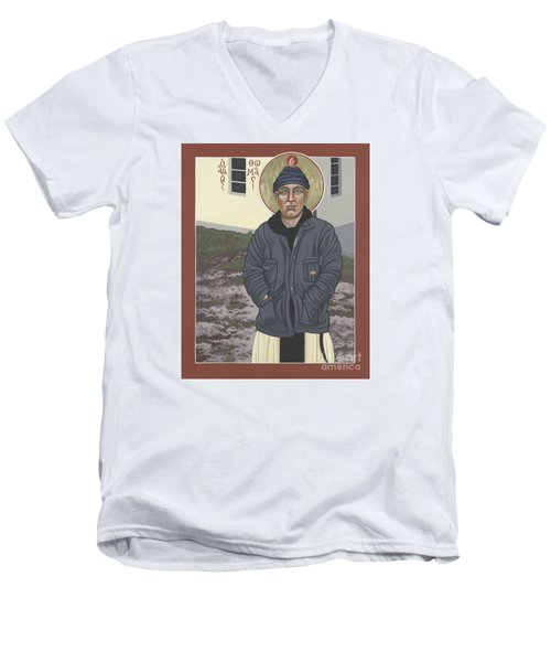 Holy World Evangelist Thomas Merton 267 Men's V-Neck T-Shirt by William Hart McNichols