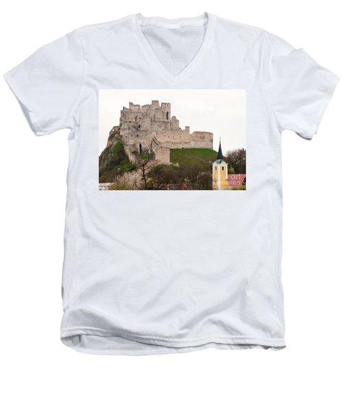Men's V-Neck T-Shirt featuring the photograph Hrad Beckov - Castle by Les Palenik