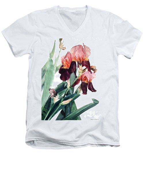 Watercolor Of A Pink And Maroon Tall Bearded Iris I Call Iris La Forza Del Destino Men's V-Neck T-Shirt