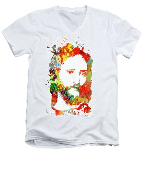 Jesus Christ - Watercolor Men's V-Neck T-Shirt