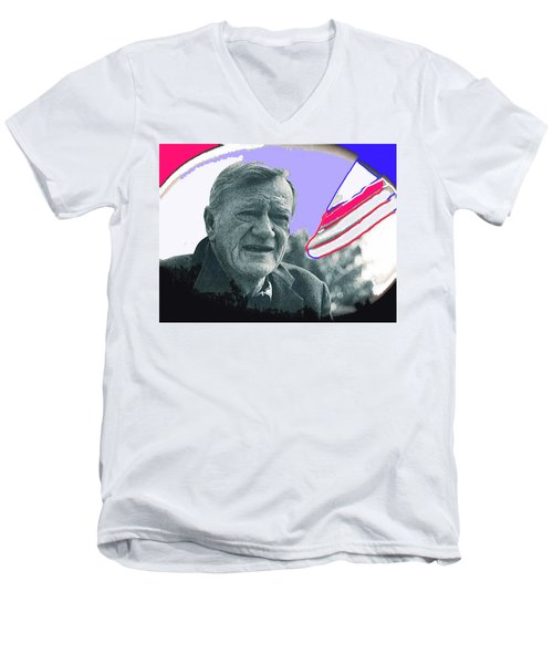 Men's V-Neck T-Shirt featuring the photograph John Wayne Out Of Costume With Flag by David Lee Guss