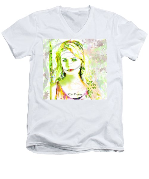 Men's V-Neck T-Shirt featuring the digital art Lily Lime by Kim Prowse