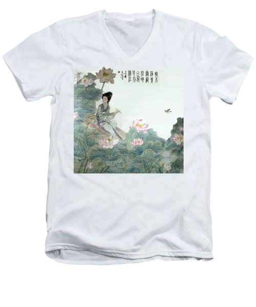 Men's V-Neck T-Shirt featuring the photograph Lotus Pond by Yufeng Wang
