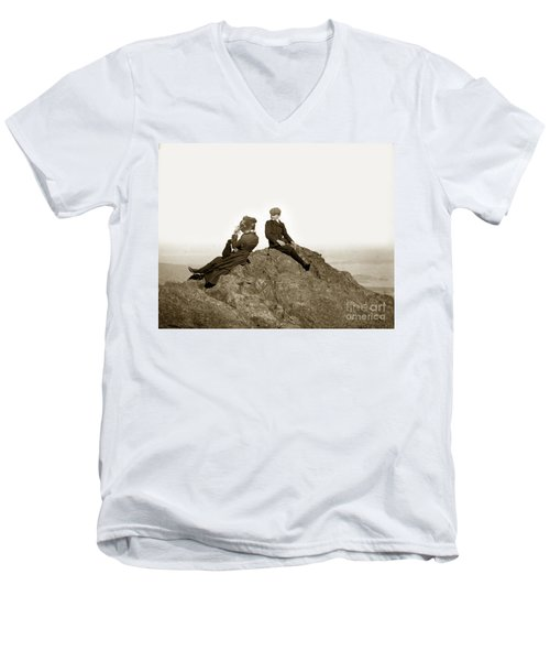 Men's V-Neck T-Shirt featuring the photograph Mount Tamalpais Marin County  Circa 1902 by California Views Mr Pat Hathaway Archives