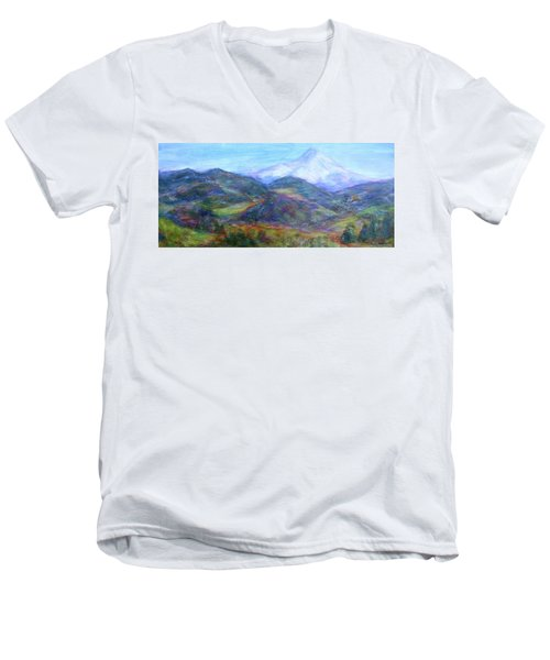 Mountain Patchwork Men's V-Neck T-Shirt