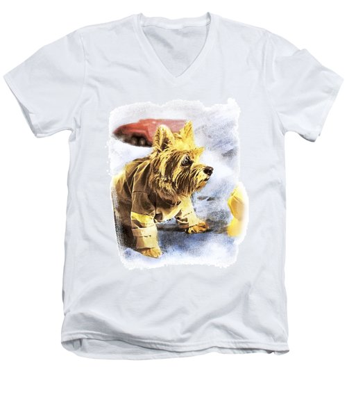Norwich Terrier Fire Dog Men's V-Neck T-Shirt by Susan Stone
