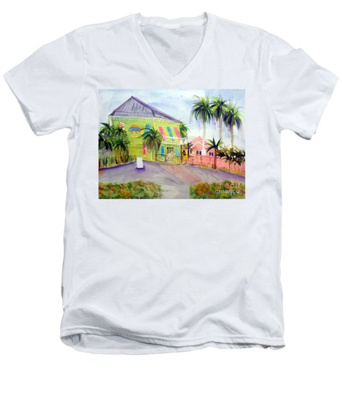Old Key Lime House Men's V-Neck T-Shirt by Donna Walsh