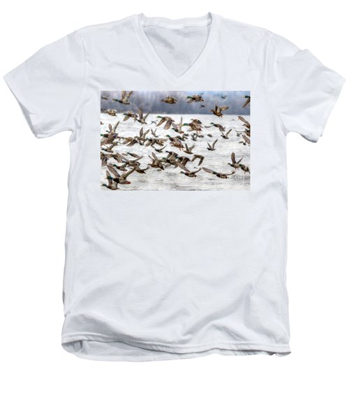 Men's V-Neck T-Shirt featuring the photograph One Direction by Robert Pearson
