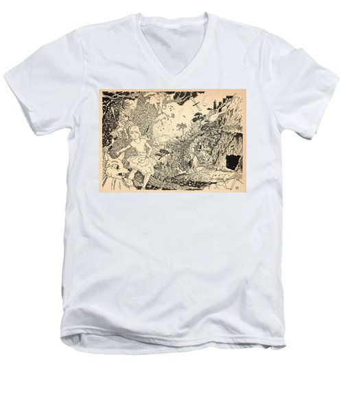 Men's V-Neck T-Shirt featuring the drawing Open Sesame by Reynold Jay