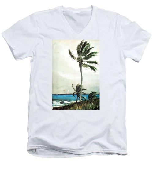 Palm Tree Nassau Men's V-Neck T-Shirt by Celestial Images