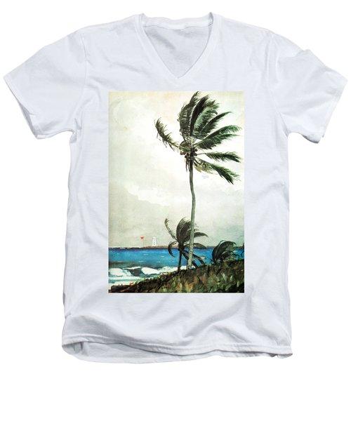 Palm Tree Nassau Men's V-Neck T-Shirt