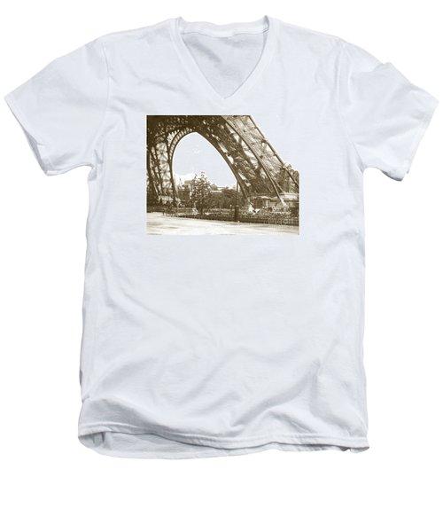 Men's V-Neck T-Shirt featuring the photograph Paris Exposition Eiffel Tower Paris France 1900  Historical Photos by California Views Mr Pat Hathaway Archives