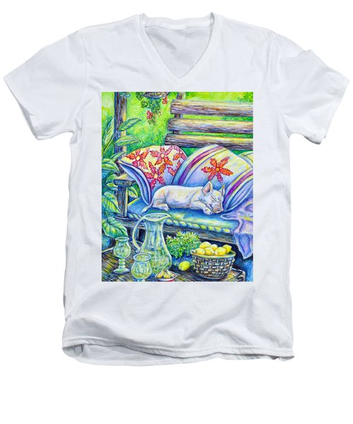 Pig On A Porch Men's V-Neck T-Shirt by Gail Butler
