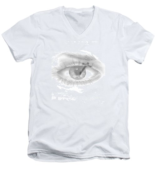 Plank In Eye Men's V-Neck T-Shirt by Terry Frederick