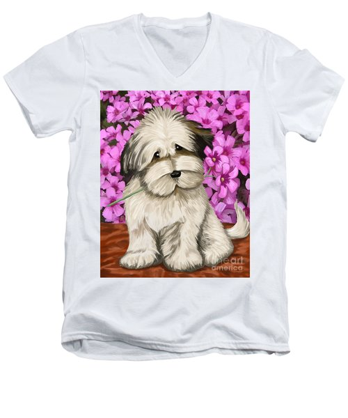 Men's V-Neck T-Shirt featuring the painting Puppy In The Flowers by Tim Gilliland