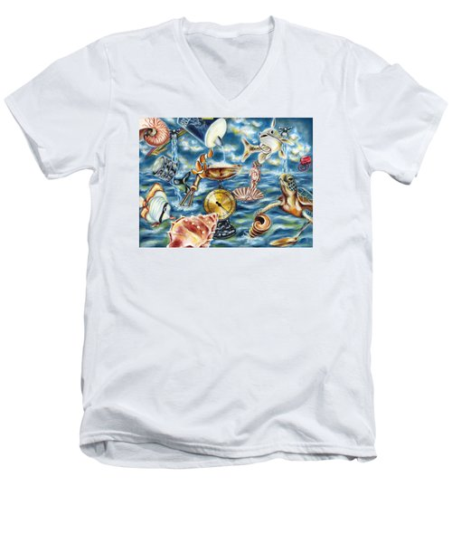 Men's V-Neck T-Shirt featuring the painting Recipe Of Ocean by Hiroko Sakai