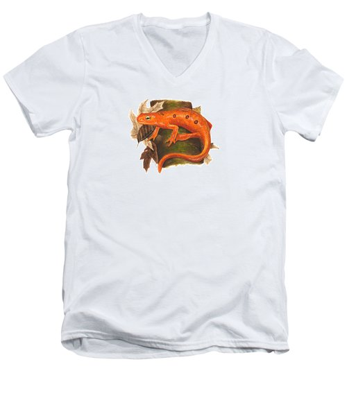 Red Eft Men's V-Neck T-Shirt by Cindy Hitchcock