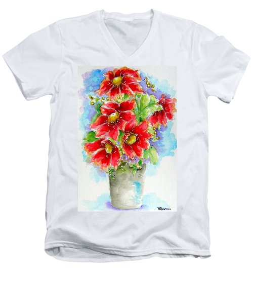 Men's V-Neck T-Shirt featuring the painting Red Flowers by Patrice Torrillo