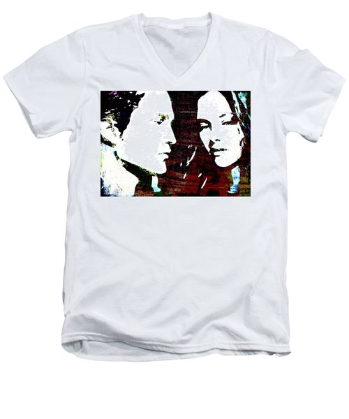 Men's V-Neck T-Shirt featuring the mixed media Robsten by Svelby Art