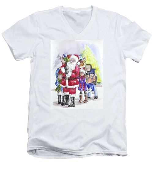 Santa And Children Men's V-Neck T-Shirt