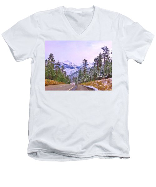 Men's V-Neck T-Shirt featuring the photograph Sierra Storm by Marilyn Diaz