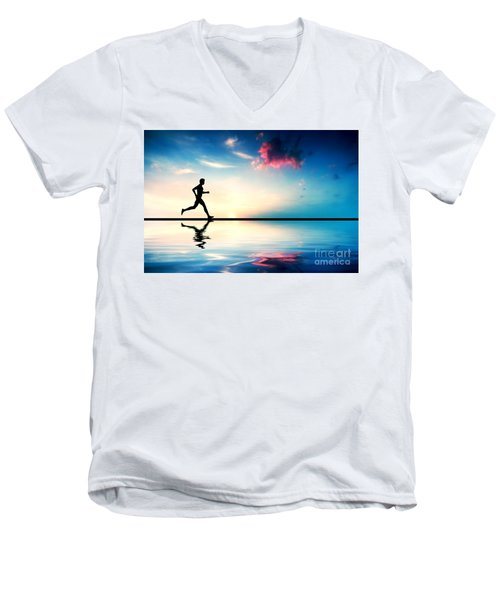 Silhouette Of Man Running At Sunset Men's V-Neck T-Shirt by Michal Bednarek