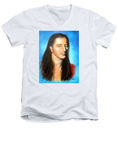 Steve Perry Men's V-Neck T-Shirt by Patrice Torrillo