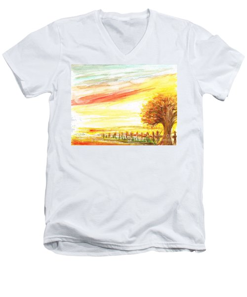 Men's V-Neck T-Shirt featuring the painting Sunset by Teresa White
