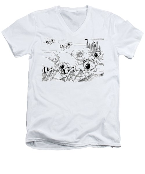 Men's V-Neck T-Shirt featuring the drawing Tammy In Polynesia by Reynold Jay