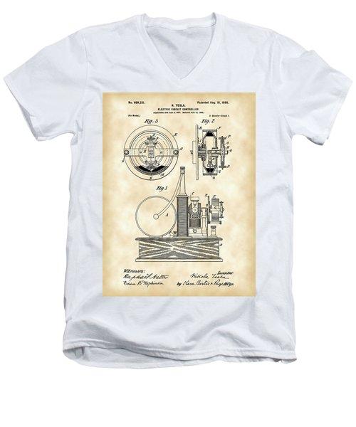 Tesla Electric Circuit Controller Patent 1897 - Vintage Men's V-Neck T-Shirt