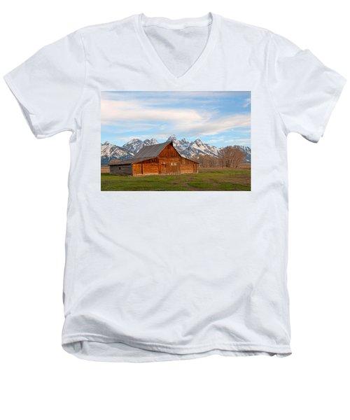 Teton Barn Men's V-Neck T-Shirt by Steve Stuller