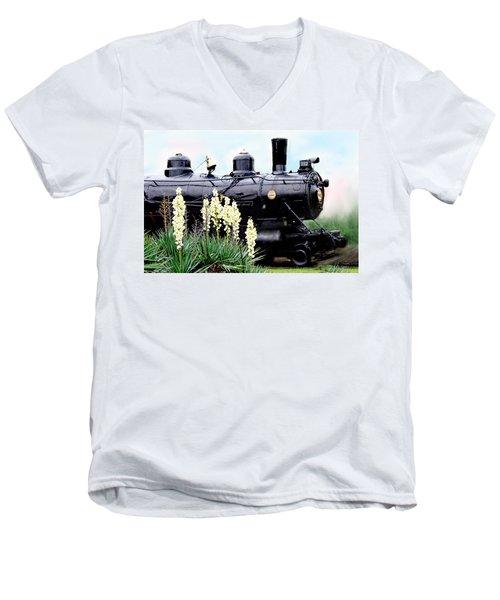 The Black Steam Engine Men's V-Neck T-Shirt