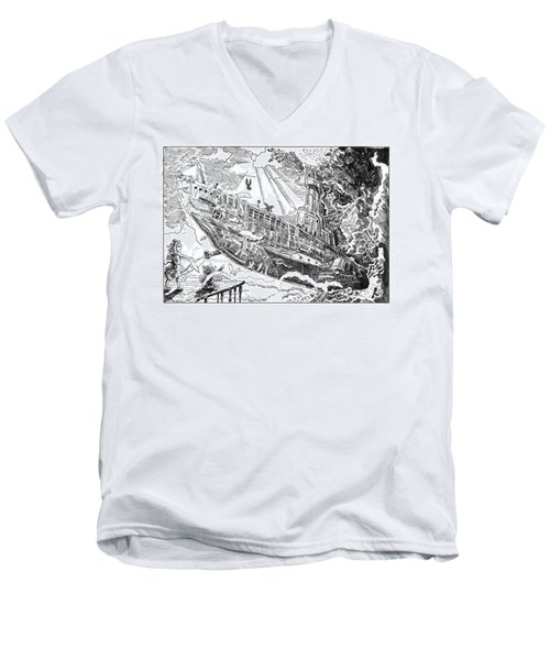Men's V-Neck T-Shirt featuring the drawing The Flying Submarine by Reynold Jay