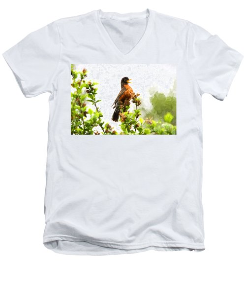 The Robin Sings Men's V-Neck T-Shirt